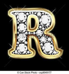 Vector - R gold and diamond bling - stock illustration, royalty free illustrations, stock clip art icon, stock clipart icons, logo, line art, EPS picture, pictures, graphic, graphics, drawing, drawings, vector image, artwork, EPS vector art