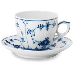 Royal Copenhagen Blue Fluted Half Lace Cup & Saucer ($190) ❤ liked on Polyvore featuring home, kitchen & dining and royal copenhagen