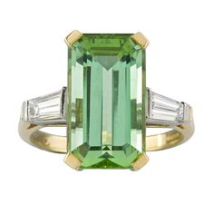 Rectangular Green Tourmaline Diamond Gold Ring | From a unique collection of vintage engagement rings at https://www.1stdibs.com/jewelry/rings/engagement-rings/
