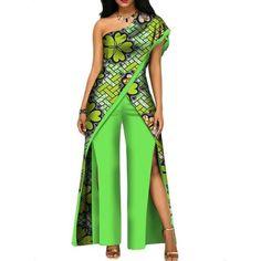 African Top-Pant Set For Women Sexy Off Shoulder Jumpsuit Dashiki Clothing Batik African Fashion Ankara, Latest African Fashion Dresses, African Print Fashion, African Prom Dresses, African Dress, African Traditional Dresses, Traditional Outfits, African Jumpsuit, Ankara Jumpsuit