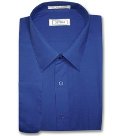 Men's Solid ROYAL BLUE Color Dress Shirt w/ Convertible Cuffs