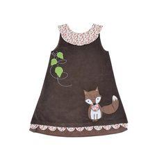 Powell Craft Corduroy Fox Brown Cord Dress 2-3 Years