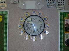 Make telling time easy with a slight adjustment to your hanging clock.   I purchased mini paper clocks from a school store, highlighted th...