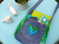 Love Your Planet Upcycled Jean Purse by WingsintheWind on Etsy, $35.00