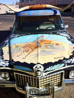 """Marfa's cowboy cadillac hearse   Front says """"ride of a lifetime""""   if you pass through Marfa go down by the courthouse and you will see it around there...."""