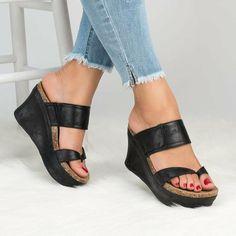 Women Plus Size High Heels Flip Flop Platform Slippers Wedges Sandals Black Wedge Sandals, Shoes Heels Wedges, Strap Sandals, Wedge Heels, High Heels, Brown Sandals, Summer Sandals, Sandals 2018, Black Wedges