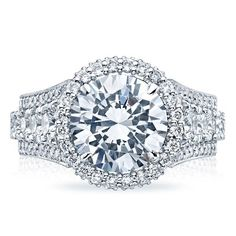 Tacori Royal T Halo Style Round Diamond Engagement Ring with prong Set Graduated Diamond Shank and Pave Diamond Trim with Crescent Accented Sides Diamond 2.48cttw (center Stone Not Included)