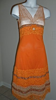 Upcycled vintage orange slip dress