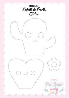 Molde de cacto em feltro; moldes para artesanato em feltro; Molde; Feltro; Moldes; Decoração; Cactos; felt craft;Handmade. Easy Felt Crafts, Felt Diy, Diy And Crafts, Felt Patterns, Craft Patterns, Cactus Illustration, Felt Templates, Cactus Decor, Bullet Journal Art