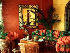 Warm and vibrant colors on the wall and the equipal furniture