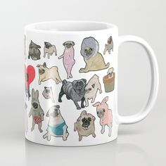 Buy Pugs Coffee Mug by yuliyart. Worldwide shipping available at Society6.com. Just one of millions of high quality products available.