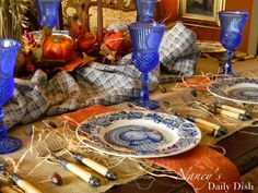 Nancy's Daily Dish: A Melange of Autumn & Thanksgiving Transferware Tablescapes Thanksgiving Table Settings, Thanksgiving Tablescapes, Holiday Tables, Thanksgiving Decorations, Table Decorations, Centerpieces, Thanksgiving Dinnerware, Rustic Thanksgiving, Thanksgiving 2013