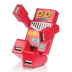 Multipuerto USB, este robot agrega 4 puertos USB a tu compu o notebook! Los ojos se iluminan mientras está conectado, articulado en los brazos y piernas y con una estética de juguete antiguo este robot es un artículo simpático y muy bonito que además nos resuelve el problema cuando tenemos pocos puertos USB o tienen difícil acceso.