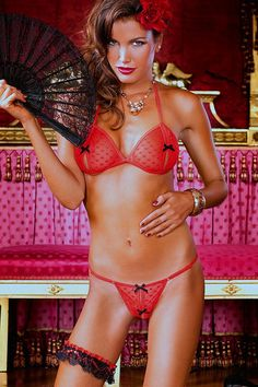 Baci Fine Fishnet Bikini Set  A gorgeous red bikini set by Baci. This set features a slightly translucent - very fine red fishnet material with a heart pattern, black bows and very sexy slits on the cups and g-string
