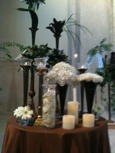 Sanctuary Decor using the Church's Antique Candlesticks as Flower Vases with Botanical Style Arrangements