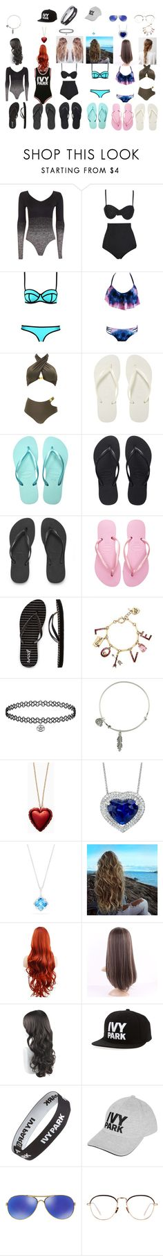 """""""me and my girls"""" by maryharvey122 on Polyvore featuring Topshop, Ivy Park, Beach Riot, Norma Kamali, Havaianas, Reef, Betsey Johnson, Alex and Ani, Kate Spade and Effy Jewelry"""