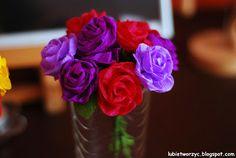 Kwiaty z bibuły marszczonej #kwiaty #flowers #handmade #tissue #bibuła marszczona #handmade #DIY #howto #instruction #instrukcja #sposobwykonania #lubietworzyc