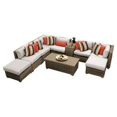 TK Classics Cape Cod Wicker 10 Piece Patio Conversation Set with 2 Sets of Cushion Covers