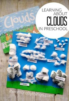 "Science Class Blessings~""HomeSchool Blessings On The Farm""~Preschool Cotton Ball Clouds Activity - great extension activity to include in weather lessons! Teaching Science, Science For Kids, Preschool Activities, Science Classroom, Preschool Kindergarten, 2nd Grade Activities, Science Fun, Science Experiments, Science Activities For Preschoolers"