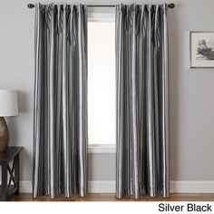 Softline Elton Stripe Jacquard Back Tab Curtain Panel (84 Inches - 55 x 84 - Silver)