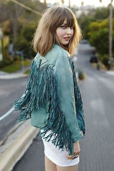 Adorable #fringe leather jacket in #teal