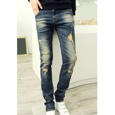 $32.69 Fashionable Zipper Fly Personality Hole Embellished Slimming Narrow Feet Men's Denim Pants