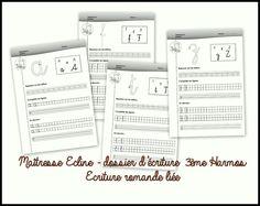 Dossier d'écriture - 3ème Harmos Preschool Kids Games, Games For Kids, Cursive, Document, Writing Practice, Alphabet, Bullet Journal, Learning, Branches