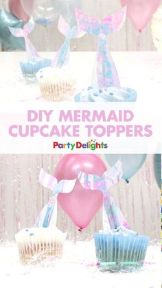 Your guests will love this super easy mermaid party food idea! Simply download our free printables and cover them with iridescent gift wrap to make these DIY mermaid cupcake toppers. Don't they look stunning?