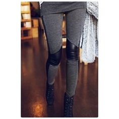 Host Pick Stretchy Faux Leather Leggings Material:Cotton Blend + Faux Leather Color : Deep Gray.                                                                                                                                      Stretch and comfortable. Price is firm unless bundle. Pants Leggings