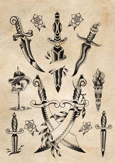 Small Traditional Tattoo, Traditional Dagger Tattoo, Traditional Tattoo Old School, Traditional Tattoo Stencils, Traditional Tattoo Flash Art, Traditional Tattoo Drawings, Traditional Flash, Neue Tattoos, Hand Tattoos