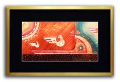 Embossing, Engraving, and Painting on Copper sheet.  FLYING: Two birds with empty hearts, fly to find their hearts. A third bird (leaving frame) has found her heart, then flies away, into another world.