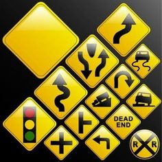 Make your own glossy glassy web warning danger road signs or use design from the included vectors (left turn; dead end;