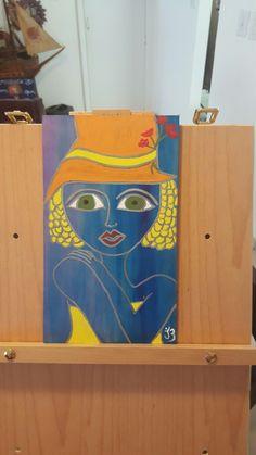 Blue Art by Johanna Behrens Acrylic and wood #johannabehrensarts
