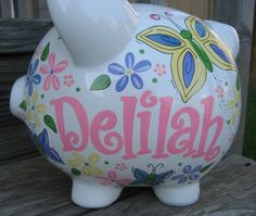 Personalized piggy bank by jdavissquared.                                                                                                                                                                                 Más