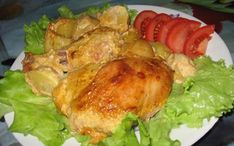 Tasty chicken in the marinade along with potatoes in the oven / Amazing Cooking Yum Yum Chicken, Poultry, Cabbage, Pork, Turkey, Lose Weight, Potatoes, Tasty, Stuffed Peppers
