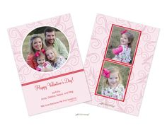 Swirly Happy Valentine's Day photo card printed with your photos on the front and on the back. | Invitations by Design