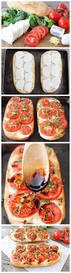 Deliciosos panes tipo capresa. Sólo necesitaras tomate en rodajas, rodajas de queso feta y un poco de tomillo fresco y una vinagreta sencilla