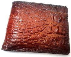 New 100% GENUINE CROCODILE ALLIGATOR SKIN Belly Bifold Brown ID Wallet Handmade #Handmade #Bifold