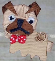 Pug Dog with Red Polka Dot Bow! Character Sculpture Hair Clippies by TenderTreasureBoutique for $5.49