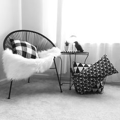 See this Instagram photo by @grayglow • See this Instagram photo by @grayglow • Living room decor   Monochrome   Black and white   Fall decor   Autumn decorations   Crystal ball   Succulent   Table styling   Side table   Ikea   Acapulco chair   Throw pillows   Plaid