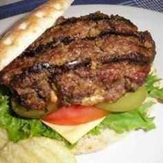 Lots of flavor, and a nice change from just a regular burger. You can make these ahead of time and freeze them also. Serve on buns with all of your favorite toppings.