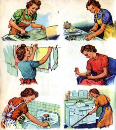 10 awesome cleaning tips. Love the artwork on this. Reminds me of the Dick and Jane readers in first grade.