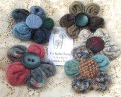 Harris Tweed Shetland Wool FLOWER BROOCH, Handmade Scotland...