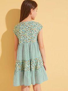 Girls Ditsy Floral & Striped Layered Hem Dress Tee Dress, Babydoll Dress, Baby Girl Dresses, Girl Outfits, Floral Stripe, Ditsy Floral, Baby Girl Fashion, Women's Fashion, Summer Dresses