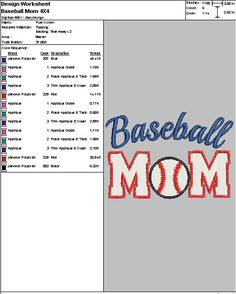 """Embroidery Digital File """"Baseball Mom Applique"""" by DixieCharmm on Etsy"""