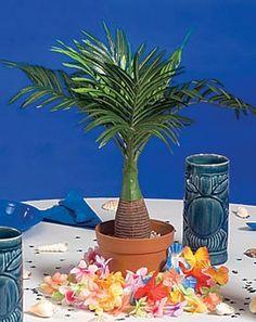 Island Palms Luau Palm Tree Summer Pool Theme Party Melamine Snack Tray Frond