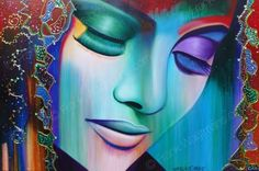 Kleurrijke kunst. Een echte blikvanger! Zeer mooi kleurrijk schilderij van Frank Wagtmans. Portret geschilderd in de kleuren: blauw, groen, rood, oranje, roze, paars. Inspirerend!!!!