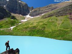 """Located in the Many Glacier Area of Glacier National Park, Cracker Lake is a classic glacial lake, where the surrounding glaciers are grinding rock into a fine powder. This powder, known as """"glacial flour"""", is suspended in the water, which creates the amazing turquoise color due to refraction as the sunlight shines on these tiny suspended rock particles."""