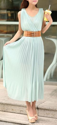 Mint Chic | Pretty, Pleated Maxi + wide belted design. dresslily.com