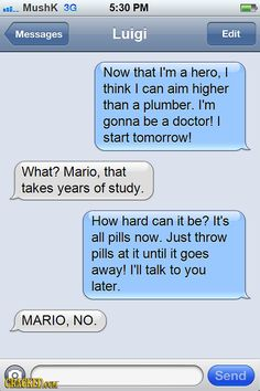 20 Drunk Texts from Famous Video Game Characters #Mario #Luigi